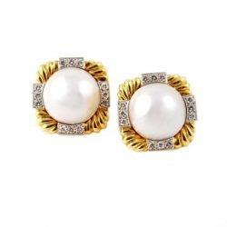 David Webb orecchini perle mabe e brillanti