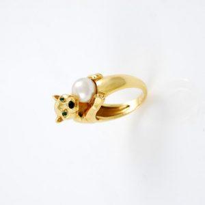 CARTIER Pantera anello oro e perla