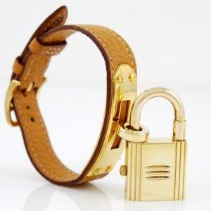 Hermes orologio kelly placcato oro e pelle _ cassa