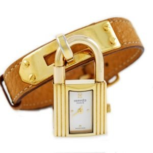 Hermes orologio kelly placcato oro e pelle