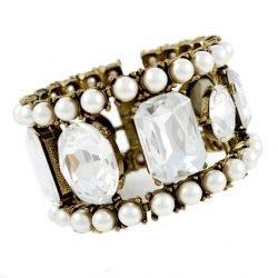 Bracciale rigido Regina Alleni Bijoux cristalli e perle
